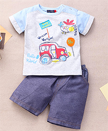 Great Babies Busy Street Print T-Shirt & Shorts With Snap Buttons  - Sky Blue