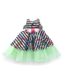 Bluebell Sleeveless Party Frock Flower Applique - Green And Navy