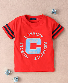 Great Babies Crew Neck T-Shirt With Striped Sleeves - Red
