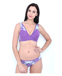 Inner Sense Antimicrobial Sleeping Nursing Bra & Panty Set - Purple