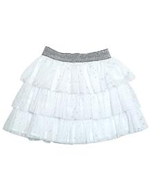 Young Birds Star Print Shimmer Skirt - White
