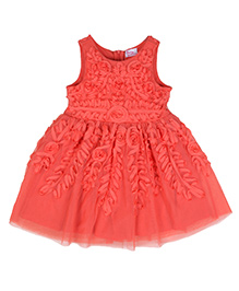 Teeny Tantrums Ribbon Dress With Floral Design - Orange