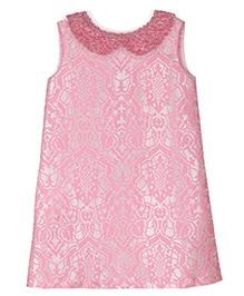 Teeny Tantrums Jacquard Dress With Hand Beaded Collar - Pink