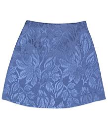 Teeny Tantrums Jacquard Floral Design A Line Skirt - Blue