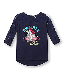 Barbie Printed Full Sleeves Top Bow Applique - Blue