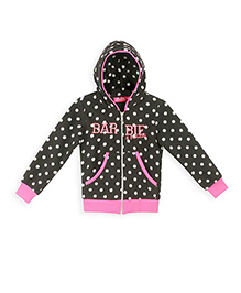 Barbie Full Sleeves Dotted Hooded Sweat Jacket - Black