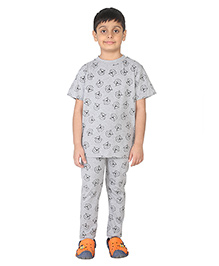 Imagica Half Sleeves Character Printed T-Shirt And Pyjama Set - Grey