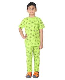 Imagica Half Sleeves Character Printed T-Shirt And Pyjama Set - Green