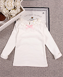 Aww Hunnie Lace Bow On Neck Girl Top - White