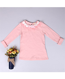 Aww Hunnie Lace Bow On Neck Girl Top - Pink