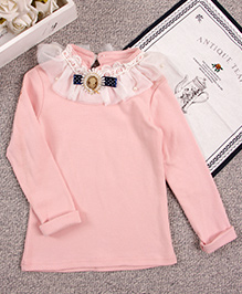 Aww Hunnie Neck Ruffel Top - Pink