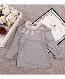 Aww Hunnie Lace Work On Neck Top - Grey