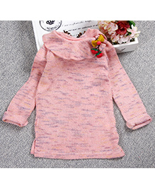 Aww Hunnie Cute Winter Sweater With Bow - Pink
