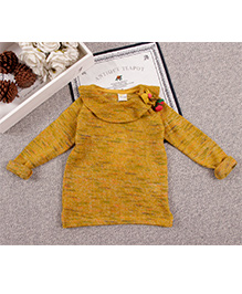 Aww Hunnie Cute Winter Sweater With Bow - Yellow