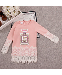 Aww Hunnie Lace Cute Baby Long Top - Pink