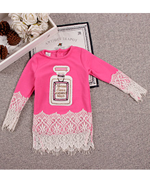 Aww Hunnie Lace Cute Baby Long Top - Hot Pink