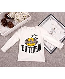 Aww Hunnie Batman Print Boys T-Shirt - White