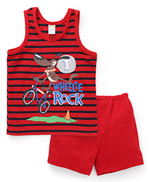 Super Baby Wheelie Rock Print Vest & Shorts Set - Red