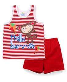 Super Baby Hello Summer Print Tee & Shorts Set - Red
