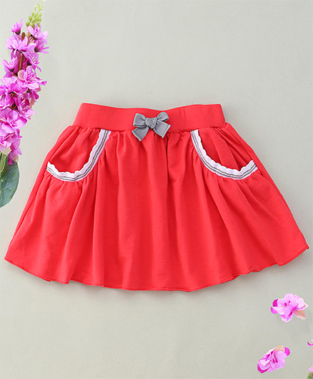 Hallo Heidi Bow Applique Skirt With 2 Front Pockets - Red