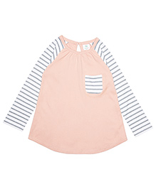Orgaknit Organic Cotton Sweet Stripes And Solid Top - Peach Grey White