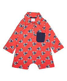 Orgaknit Organic Cotton Full Sleeves Ranch Print Romper - Red