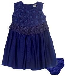 Bella Moda Crochet Lacy Dress With Bloomers - Blue