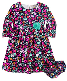 Bella Moda Full Sleeves Floral Print Dress With Bloomer - Multicolor