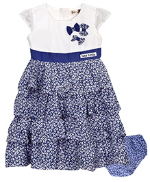 Bella Moda Layered Dress With Bloomers - Blue & White