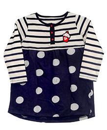 Bella Moda Full Sleeves Stripe & Polka Dress - White & Blue