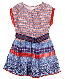 Bella Moda Stylish Short Sleeves Dress - Multicolor