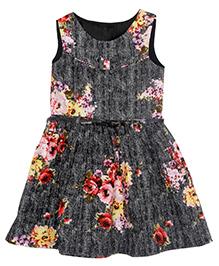 Bella Moda Floral Dress - Black