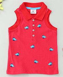 Hallo Heidi Fish Design Top With Front Buttons - Red