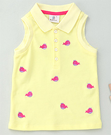Hallo Heidi Fish Design Top With Front Buttons - Yellow