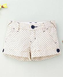 Hallo Hiedi Dot Print Shorts -Cream