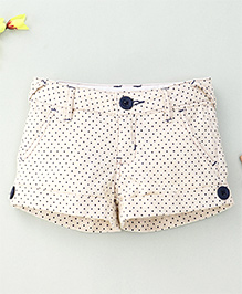 Hallo Hiedi Dot Print Shorts -Cream