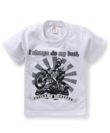 Hippo&Son I Will Always Do My Best Print T-Shirt - White