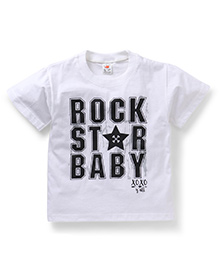 Hippo&Son Rock Star Baby Print T-Shirt - White