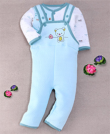 Superfie Teddy Applique Baby Dungaree Set - Light Blue