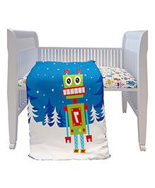 Fancy Fluff Premium Digitally Printed Comforter Robot Theme - Blue White
