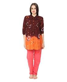 Kriti Three Fourth Sleeves Maternity Kurta - Brown