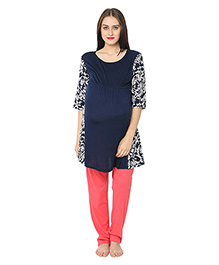 Kriti Three Fourth Sleeves Maternity Kurta - Blue