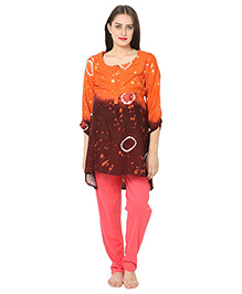 Kriti Three Fourth Sleeves Maternity Kurta - Brown Orange