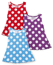 Simply Sleeveless Frock Polka Dots Pack Of 3 - Red Purple Blue