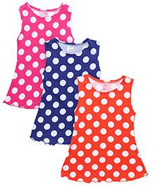 Simply Sleeveless Frock Polka Dots - Orange Royal Blue Pink