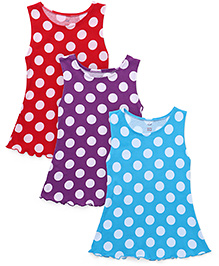 Simply Sleeveless Frock Polka Dots Pack Of 3 - Blue Purple & Red
