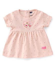 Simply Short Sleeves Frock Bird & Heart Print - Pink