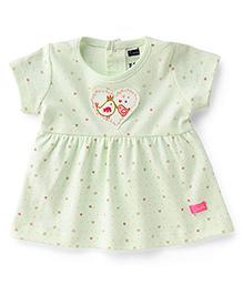 Simply Short Sleeves Frock Bird & Heart Print - Green