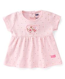 Simply Short Sleeves Frock Bird & Heart Print - Light Pink