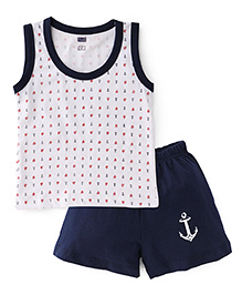 Simply Sleeveless T-Shirt & Shorts Ship & Anchor Print - Navy White